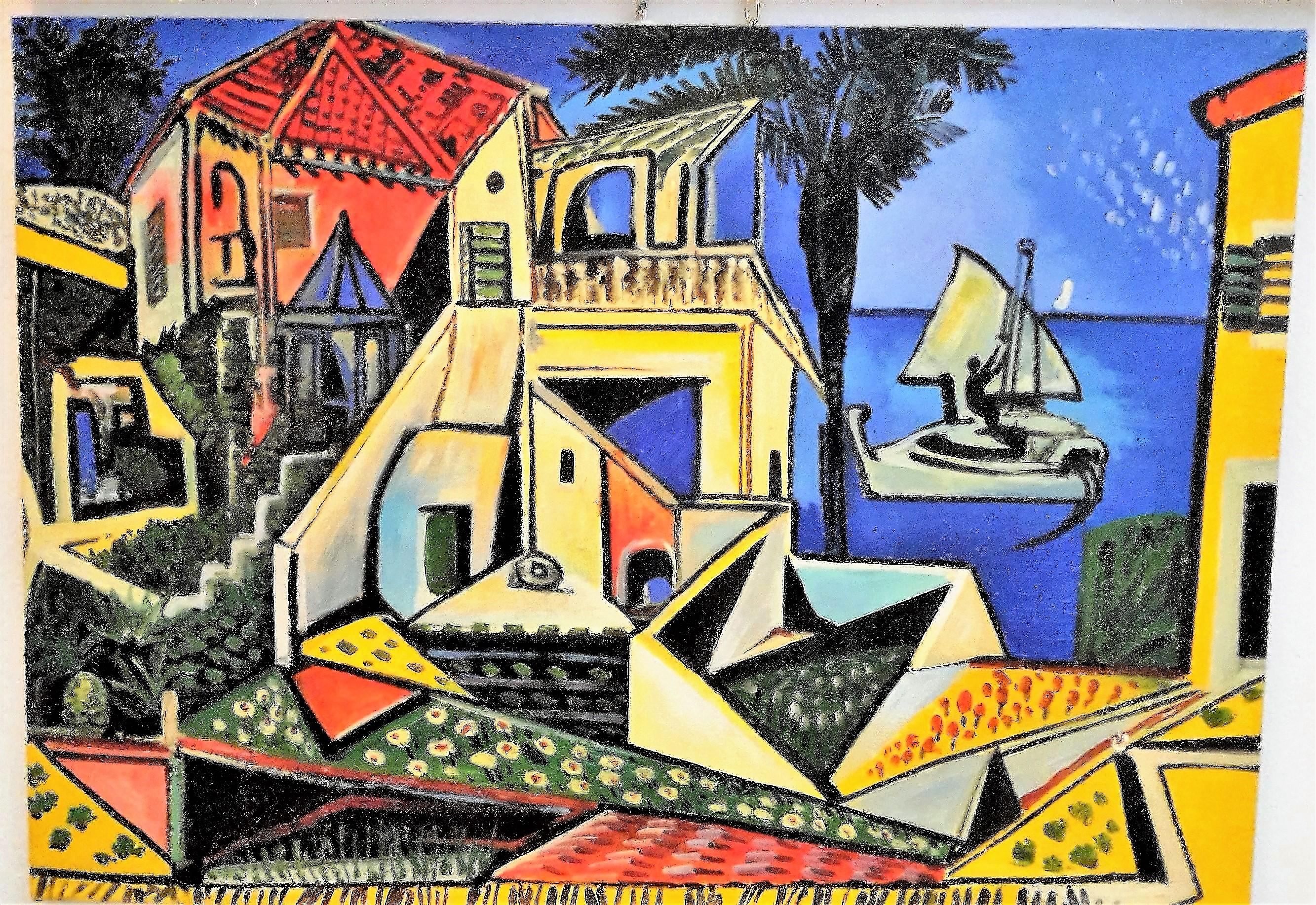 Pablo Picasso – Paesaggio mediterraneo 1952 – 50×70 | Quadri e Falsi ...